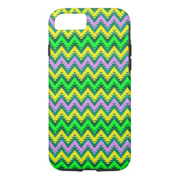 Aztec Themed Yellow Lime and Lilac Aztec Chevron Stripes iPhone 8/7 Case