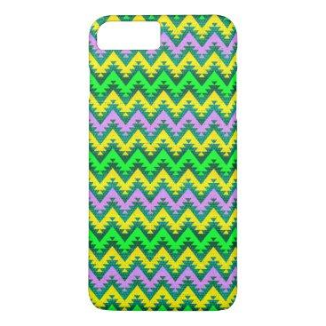 Aztec Themed Yellow Lime and Lilac Aztec Chevron Stripes iPhone 8 Plus/7 Plus Case