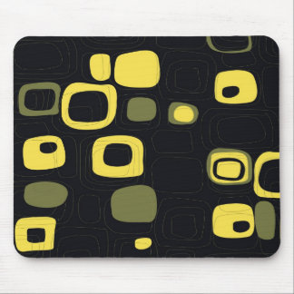 Yellow, Lime, Black Retro Abstract Art Mouse Pad