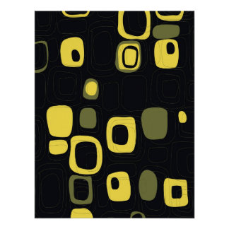 Yellow, Lime, Black Retro Abstract Art  Poster