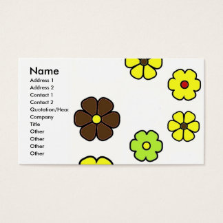 Yellow Lime Brown Flowers - Customized Business Card