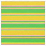 [ Thumbnail: Yellow, Lime Green, and Light Pink Colored Lines Fabric ]