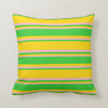 [ Thumbnail: Yellow, Lime Green, and Light Pink Colored Lines Throw Pillow ]