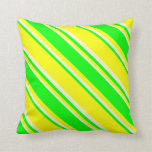 [ Thumbnail: Yellow, Lime & Light Yellow Lines Pattern Pillow ]