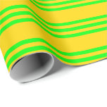 [ Thumbnail: Yellow & Lime Lined Pattern Wrapping Paper ]