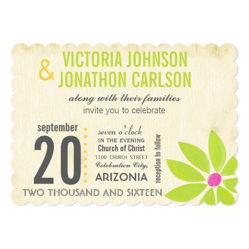 "Yellow Lime Modern Daisy Typography Wedding 5"" X 7"" Invitation Card"