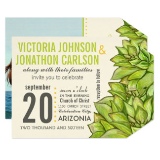 Yellow Lime Succulent Modern Typography Wedding Card