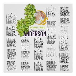 Yellow Lime Succulent Modern Typography Wedding Poster