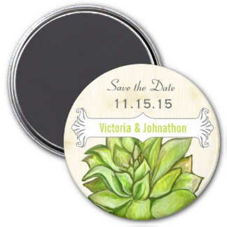 Yellow Lime Succulent Save the Date Magnets