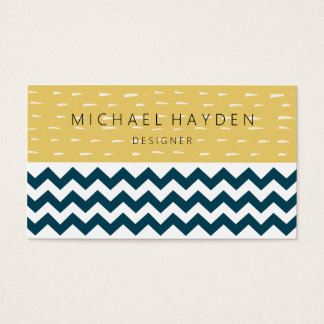 Yellow Line & Navy Blue Chevron Two Tone Pattern Business Card