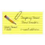 Yellow lined paper with paper clip business card templates