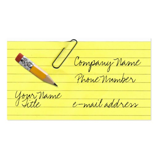yellow legal pad business card templates bizcardstudio