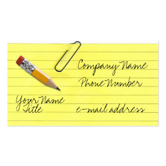 Yellow lined paper with paper clip Double-Sided standard business cards (Pack of 100)