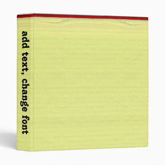 Yellow Lined School Paper Background 3 Ring Binder