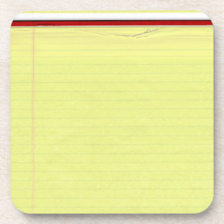 Yellow Lined School Paper Background Coaster