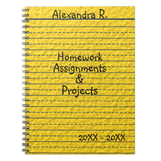 Yellow Lined School Paper Homework Assignments Note Book