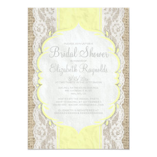 Yellow Linen Burlap Lace Bridal Shower Invitations Invite