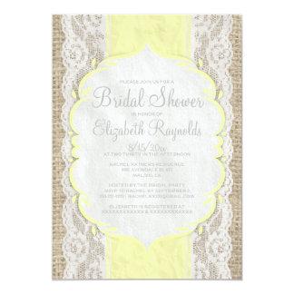 "Yellow Linen Burlap Lace Bridal Shower Invitations 5"" X 7"" Invitation Card"