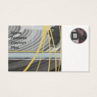Yellow lines in gramophone background business card