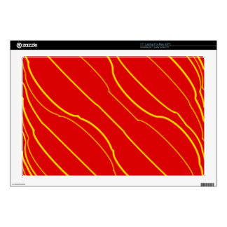 Yellow lines on red laptop skins
