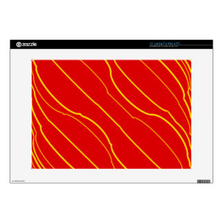 """Yellow lines on red skin for 15"""" laptop"""