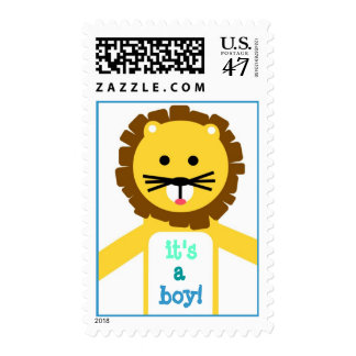 Yellow Lion It's A Boy Stamp