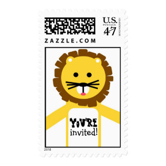Yellow Lion Party Invitation Stamp