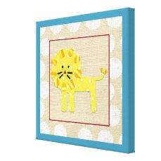 Yellow Lion with White Polka Dots Canvas Print
