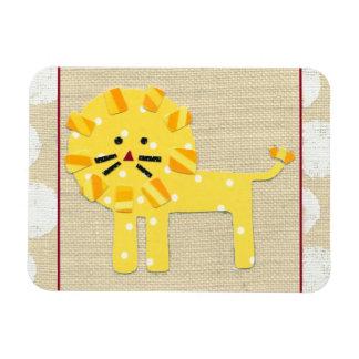 Yellow Lion with White Polka Dots Rectangular Photo Magnet