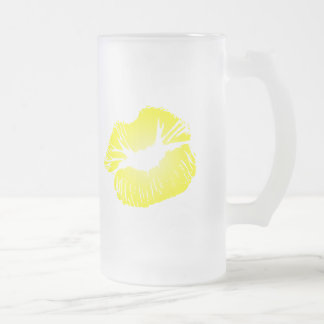 Yellow Lips 16 Oz Frosted Glass Beer Mug