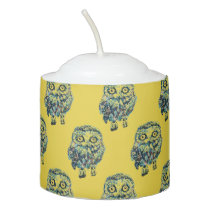 Yellow Little Owl Patterned Votive Candle