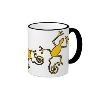 yellow lizzard ringer ceramic mug