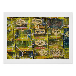 Yellow Lobster Traps stacked on Dock Poster