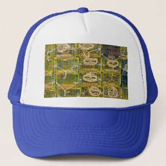 Yellow Lobster Traps stacked on Dock Trucker Hat