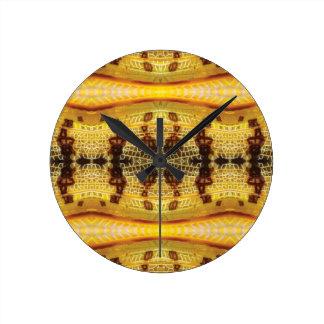 Yellow Locust Round Clock