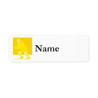 Yellow Logo Hockey Player Return Address Label