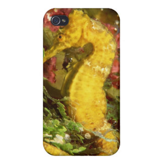 Yellow longsnout seahorse iPhone 4/4S cases