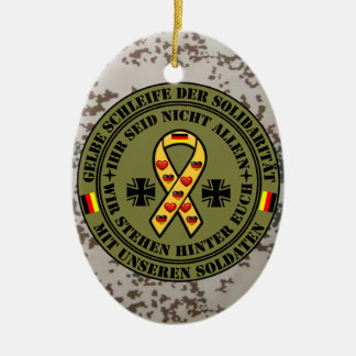 Yellow loop of the solidarity for our soldiers ceramic ornament