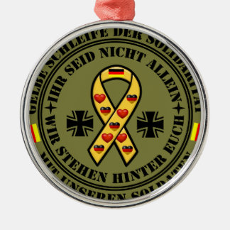 Yellow loop of the solidarity for our soldiers metal ornament