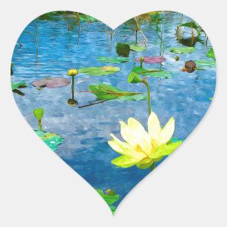 Yellow Lotus Flower Heart Sticker