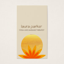 Yellow Lotus Flower Logo Yoga Healing Health Business Card