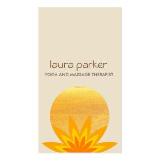 Yellow Lotus Flower Logo Yoga Healing Health Business Card