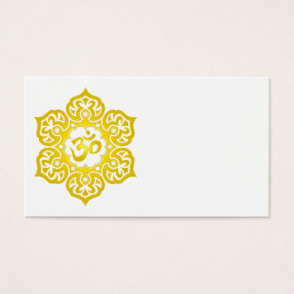Yellow Lotus Flower Om Business Card