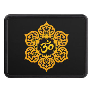 Yellow Lotus Flower Om on Black Trailer Hitch Cover
