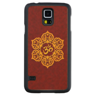 Yellow Lotus Flower Om on Red Carved Maple Galaxy S5 Slim Case