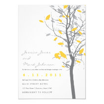 """Yellow Love Birds in Tree with Gray Leaves 5"""" X 7"""" Invitation Card"""