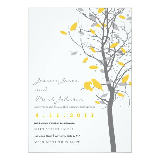 Yellow Love Birds in Tree with Gray Leaves 5x7 Paper Invitation Card