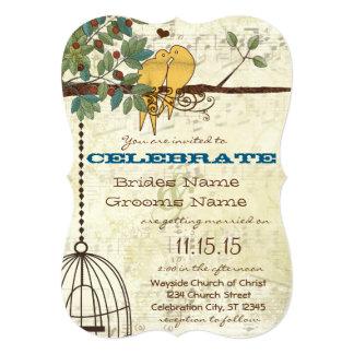 Yellow Love Birds Sitting In A Tree Wedding Card