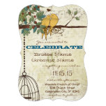Yellow Love Birds Sitting In A Tree Wedding Personalized Invites