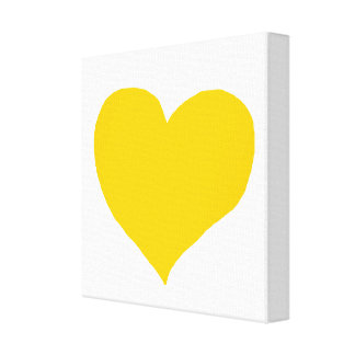 yellow-love-heart stretched canvas print